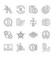 icon set bitcoin crypto innovation business vector image
