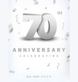 70 years silver number anniversary celebration vector image vector image