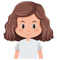 a curly hair brunette girl character vector image