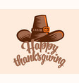 a vintage hat for thanksgiving vector image