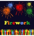 Abstract festive fireworks and hands background vector image