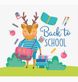 back to school cute deer with bag books apple vector image
