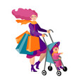 beautiful young mother with a bain a stroller vector image vector image