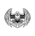 black and white eagle in high retailed style vector image vector image