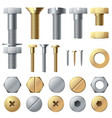bolts and screws washer nut hardware rivet screw vector image