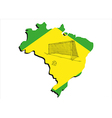 brazilian map and football vector image vector image