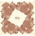 Brown henna colors floral frame in mehndi vector image