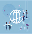 business team help to build global sign vector image