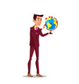 businessman with a globe and pointer mark flag vector image