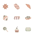 Candy shop flat color icons set vector image