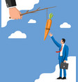 carrot on a stick in hand and businessman vector image