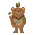 cartoon bear indian a cute vector image vector image