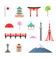 cartoon japan travel signs icon set vector image