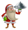 cartoon santa cooking christmas dinner vector image vector image