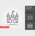castle tower line icon with editable stroke with vector image