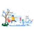 Children playing snowballs vector image vector image