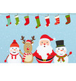 christmas composition with santa claus snowman vector image vector image