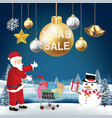 christmas sale decorative with santa claus snowman vector image vector image