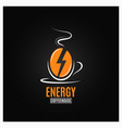 coffee bean logo coffee energy concept on black vector image vector image