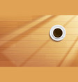 coffee cup on wooden table top view vector image vector image