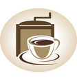 Coffee mill and cup emblem vector image vector image