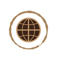 Coffee world with coffee cup stain vector image vector image