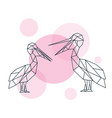 couple cute pelicans in geometric style minimal vector image