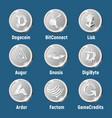 cripto currency silver logo coins vector image