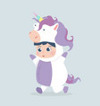 cute girl unicorn costume cartoon vector image vector image
