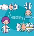 cute medical team cartoons vector image vector image