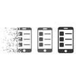 damaged pixel halftone smartphone list icon vector image vector image