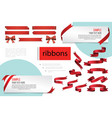 decorative red blank ribbons composition vector image vector image
