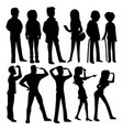 drawn people silhouettes vector image