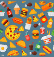 fast food icons restaurant tasty cheeseburger meat vector image vector image