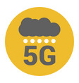 flat 5g logo with signal dots and cloud vector image