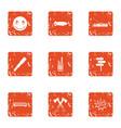 free travel icons set grunge style vector image