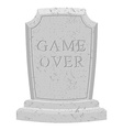 Game over tomb Carved stone end of game text vector image