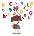 girl catches net of letters and numbers vector image vector image