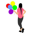 girl with balloons celebration event animator vector image vector image
