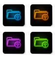 glowing neon download arrow with folder icon vector image vector image