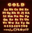 golden english alphabet on khaki background vector image vector image