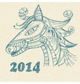 hand drwan horse symbol of 2014 year vector image