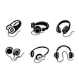 Headphones icon set in black on white background vector image vector image