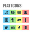 home decoration icons set with wall picture door vector image