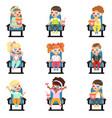 icons set cute little children vector image