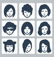 isolated female faces icons set vector image