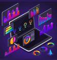 isometry diagrams on laptop screen vector image vector image
