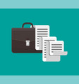 leather business briefcase and long document vector image