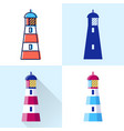 lighthouse icon set in flat and line styles vector image vector image