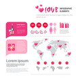 love icons and elements over infographic template vector image